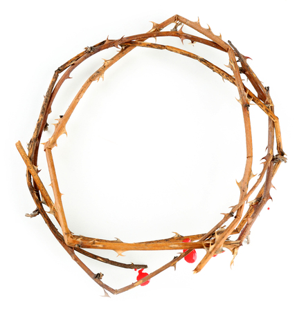Crown of thorns with blood, isolated on white Banco de Imagens