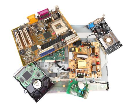 Electronic waste isolated on white Stock Photo