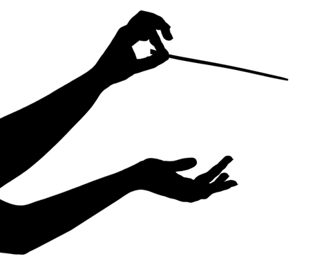 Music conductor hands with stick isolated on white Archivio Fotografico