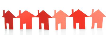 Paper houses isolated on white Standard-Bild - 100843450