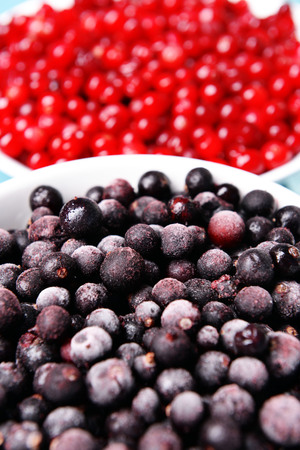 Blackberry with cranberries in bowls close up Stock Photo
