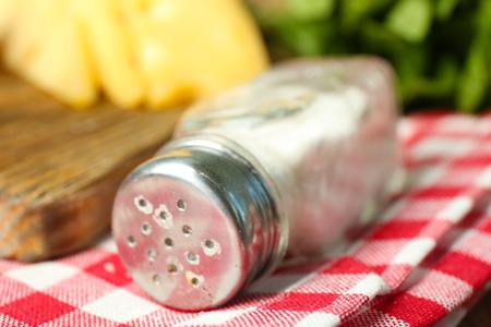Salt-bag on table close up