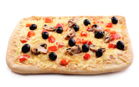 Delicious homemade pizza isolated on white Banco de Imagens