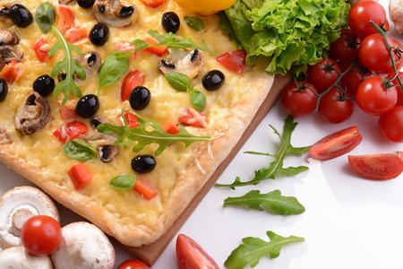 Delicious homemade pizza on white background Banco de Imagens