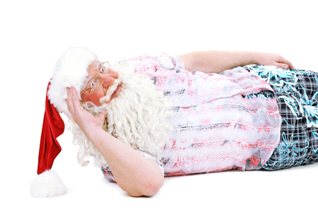 Santa Claus resting on vacation, isolated on white Banque d'images - 102246838