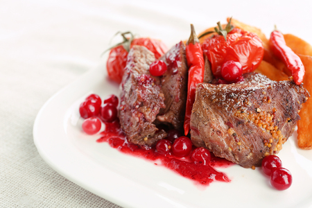 Tasty roasted meat with cranberry sauce and roasted vegetables on plate, on light background