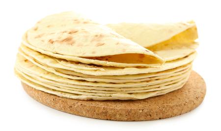Tortillas di farina isolate su bianco Archivio Fotografico