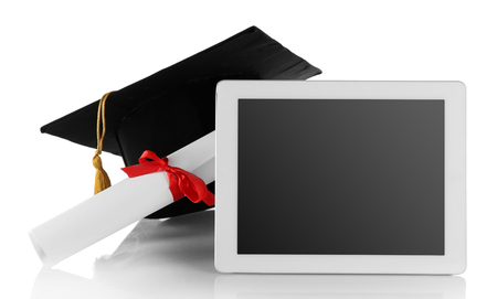 Graduation cap with tablet and diploma isolated on white 免版税图像