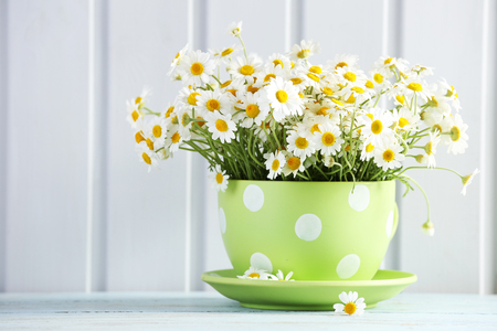 Beautiful bouquet of daisies in cup on wooden background Stok Fotoğraf