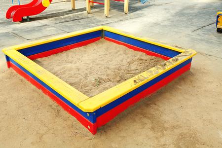 Sandbox on playground in public park