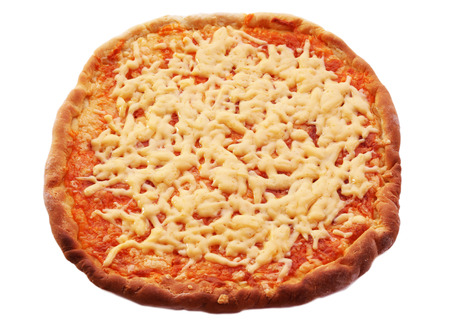 Cheese pizza isolated on white Stock Photo