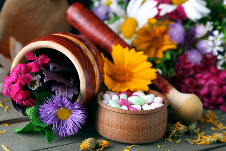 Herbs, berries, flowers and pills on color  wooden table background