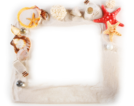 Frame of collection of seashells and sand isolated on white Reklamní fotografie