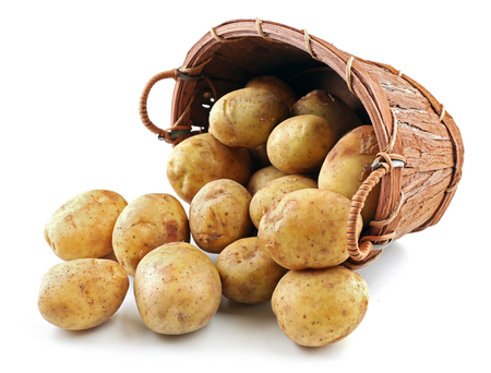 Jonge aardappelen in mand geïsoleerd op wit