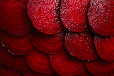 Slices of young beets close up Foto de archivo
