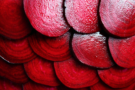 Slices of young beets close up Stockfoto