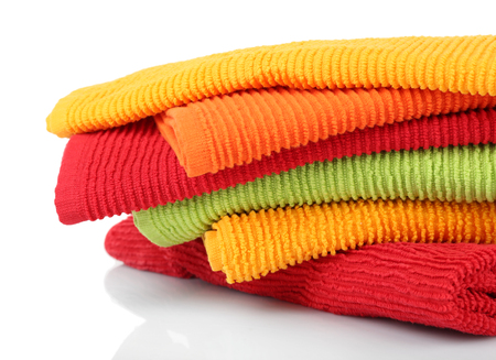 Colorful towels isolated on white Banco de Imagens