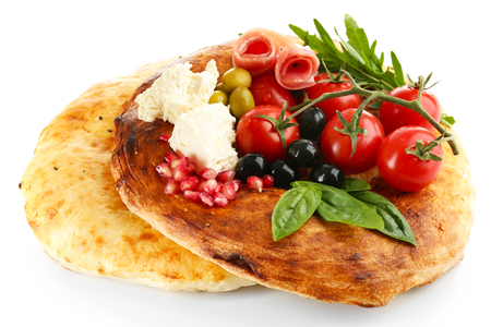 Ingredients of Mediterranean cuisine, isolated on white