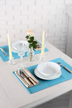 Beautiful table setting close up Stock Photo