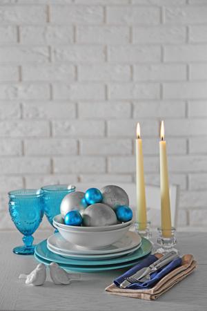Decorated Christmas table setting. Christmas menu concept 스톡 콘텐츠