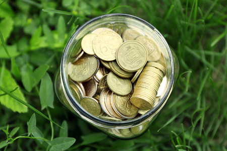 Coins in money jar on green grass outdoors Stock Photo