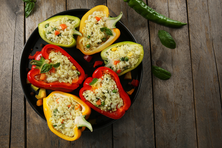 Stuffed peppers with vegetables on table close up Stok Fotoğraf