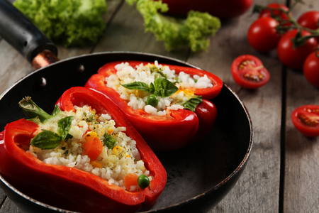 Stuffed peppers with vegetables on table close up Reklamní fotografie