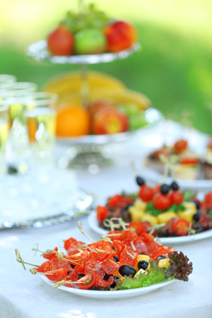 Snacks, fruits and drinks on table, outdoors. Garden party concept
