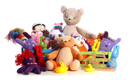 Stos zabawek na białym tle