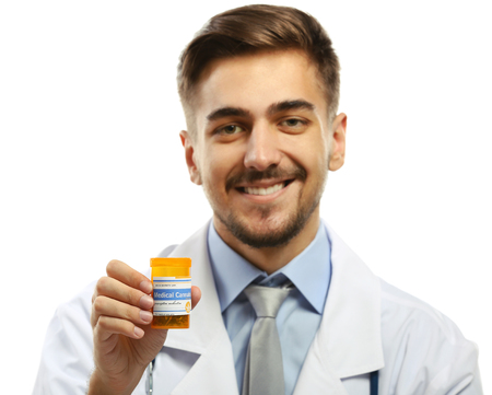 Doctor holding bottle with medical cannabis isolated on white