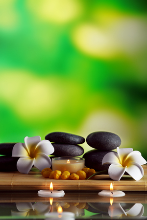Still life with spa stones on green blurred background