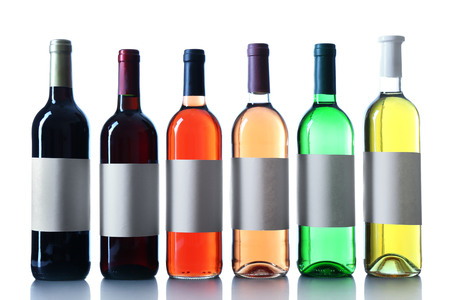 wine bottles in a row isolated on white background Banque d'images