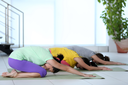Group yoga exercise for young women in a class