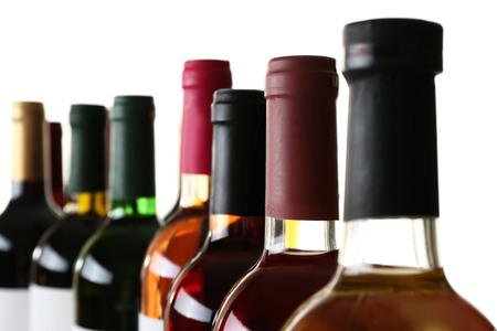 wine bottlenecks isolated on white background