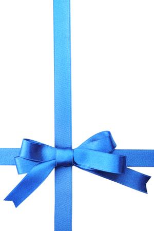 Dark blue ribbon bow isolated on white Stock Photo