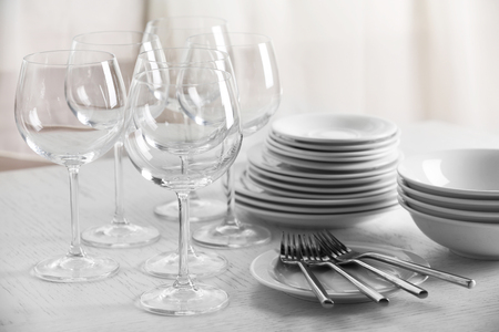 Clean dishes on the table Stock Photo