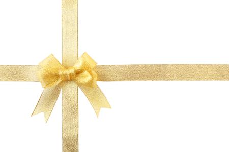 Yellow silk ribbon bow isolated on white Standard-Bild