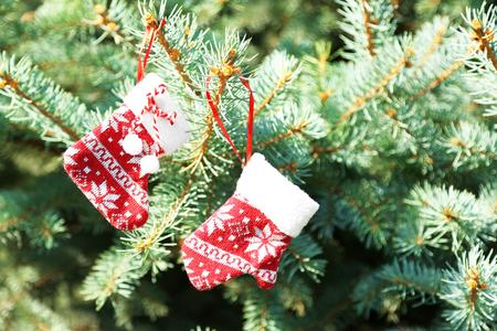 Christmas toys on fir tree branch, outdoors 版權商用圖片