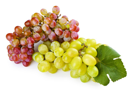 Branches of red of white grape isolated on white background