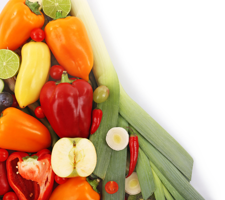 Close-up composition of various raw organic vegetables and fruit isolated on white Stok Fotoğraf