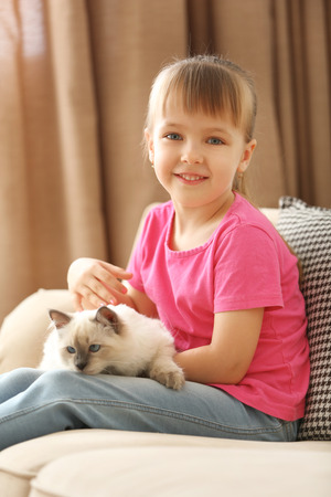 Little cute girl playing with kitten on sofa at home
