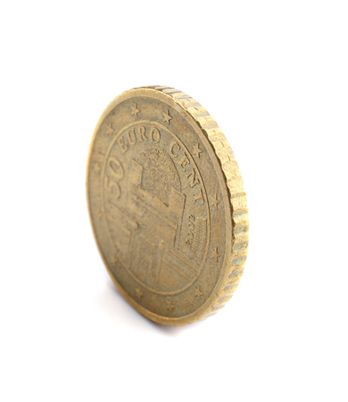 Fifty cent coin isolated on white background