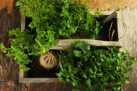 Fresh parsley in box on wooden table