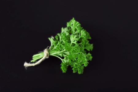 Fresh parsley on dark grey background