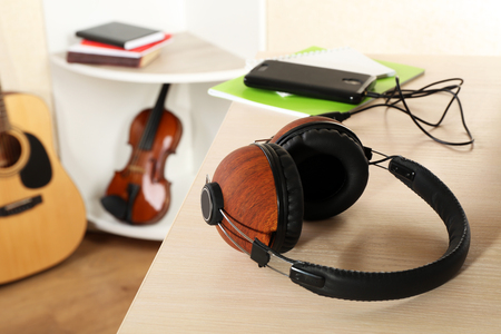 Headphones and music equipment in the room