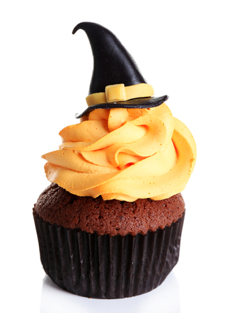 Halloween cupcake isolated on white Stock Photo