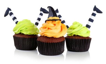 Halloween cupcakes isolated on white