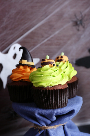 Halloween cupcakes on plate on the table Stock Photo