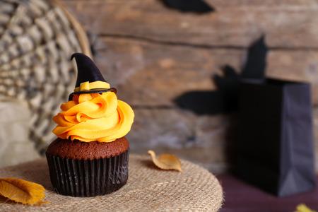 Halloween cupcake on the table closeup
