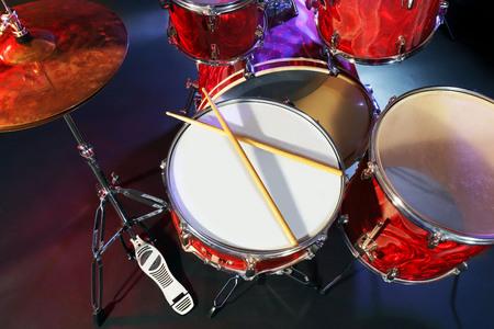 Drums set and sticks, close-up Фото со стока